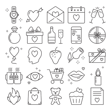 Valentines day icon set in line style. Love symbols collection including arrow through heart, diamond ring, gift boxes, rose and other. Vector illustration. Ilustração