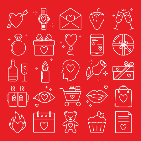 Valentines day icon set in line style. Love symbols collection including heart with arrow, diamond ring, gift boxes, rose. Vector illustration.