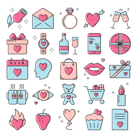 Valentines day icon set in line style. Love symbols collection including rose, heart with arrow, diamond ring, gift boxes and other. Vector illustration.
