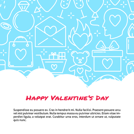 Valentine day concept banner with love icons background in line style. Romantic poster template with place for text. Vector illustration. Ilustração