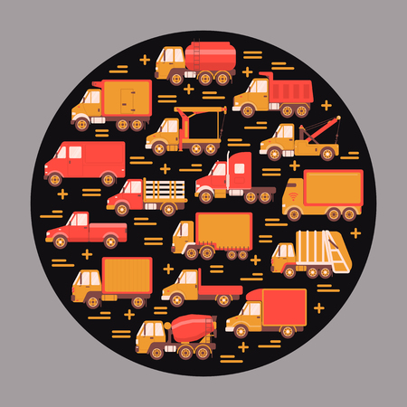Trucking industry round concept with different types of trucks in flat style. Commercial vehicle icons collection in circle. Vector banner or card template.