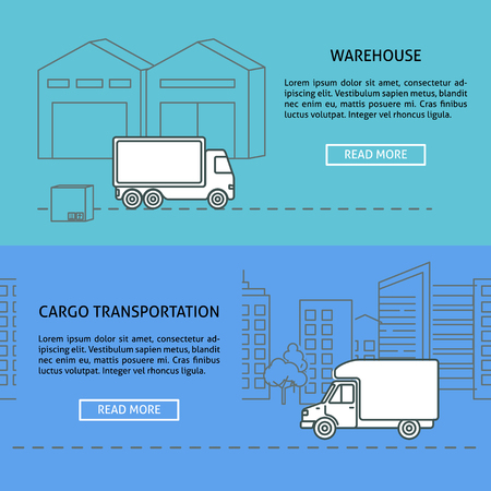 Cargo and warehouse horizontal banner templates in thin line style. Logistic and transportation concept symbols. Trucking services illustration with place for text.