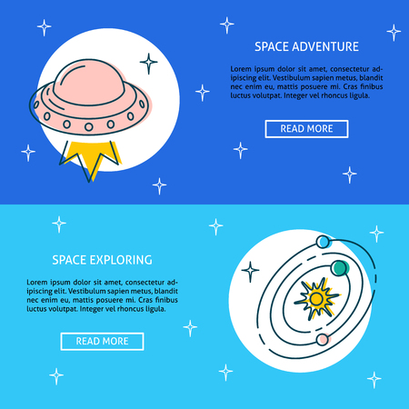 Space theme flyer templates in line style with place for text. Vector illustration. Ilustração