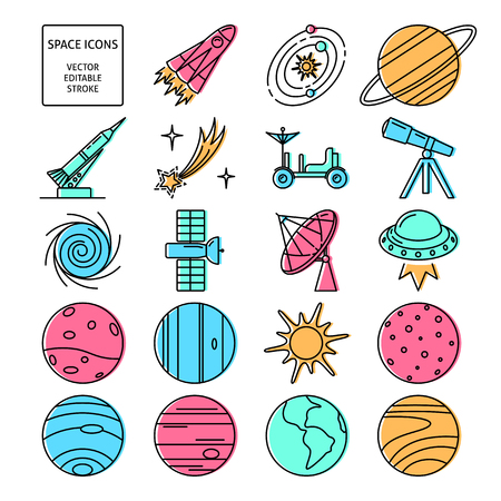 Space icons set in thin line style