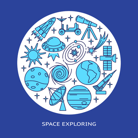 Space elements round concept banner in line style with place for text