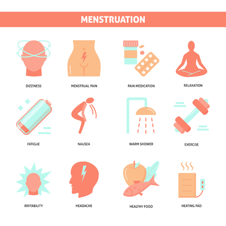 Síntomas de la menstruación e icono de tratamiento en estilo plano