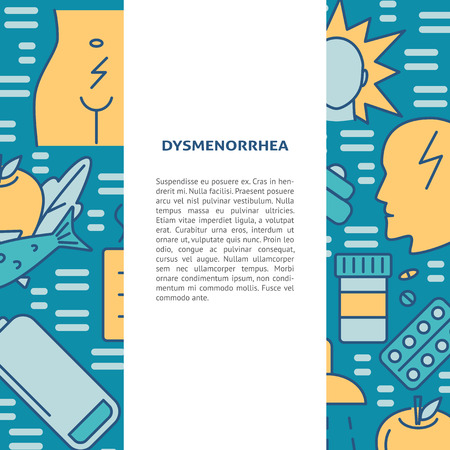 Menstrual pain symptoms and treatment banner template in line style. Dysmenorrhea concept background with text. Medical vector illustration.