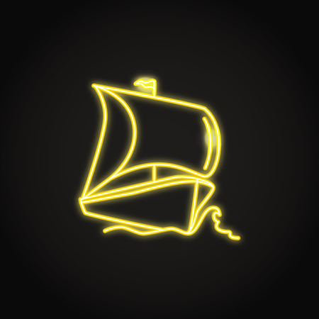 Boat ship icon in glowing neon style. Sea transport illustration. Sailing ship symbol.