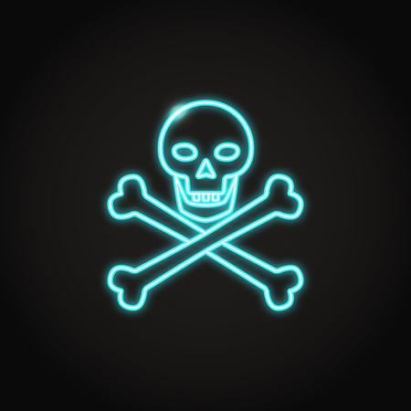 Skull and crossbones icon set in flat and line styles. Pirate symbol illustration isolated. Warning sign.