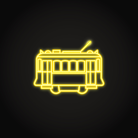 Portuguese yellow tramway icon in glowing neon style