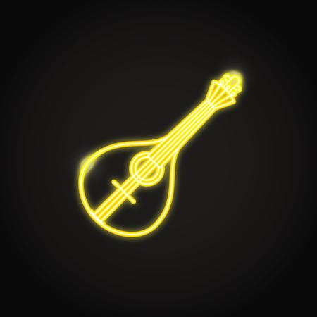 Traditional Portuguese guitar fado icon in glowing neon style Illustration
