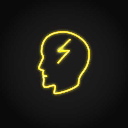 Headache concept icon in glowing neon style. Human head profile with lightning bolt symbol. Vector illustration.