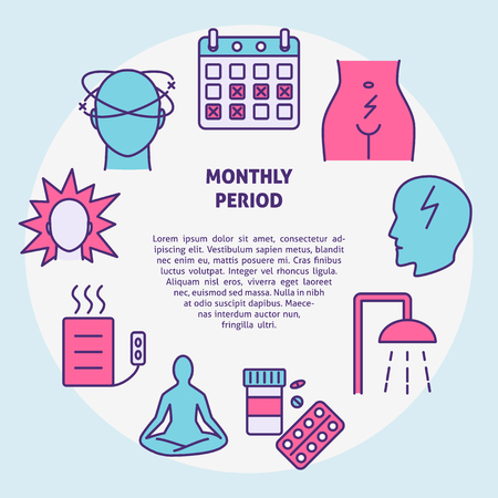 Menstruation round concept banner in line style with place for text. Menstrual monthly period symptoms and treatment symbols. Medical vector illustration. Vektorové ilustrace