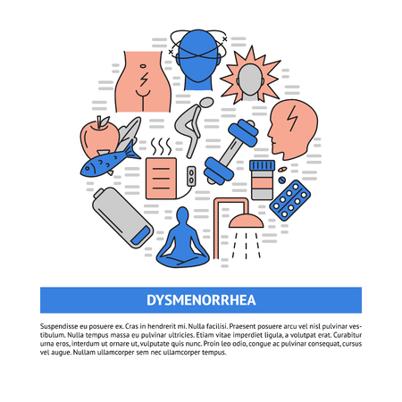 Menstruation pain round concept banner in line style with place for text. Dysmenorrhea symptoms and treatment symbols. Medical vector illustration.