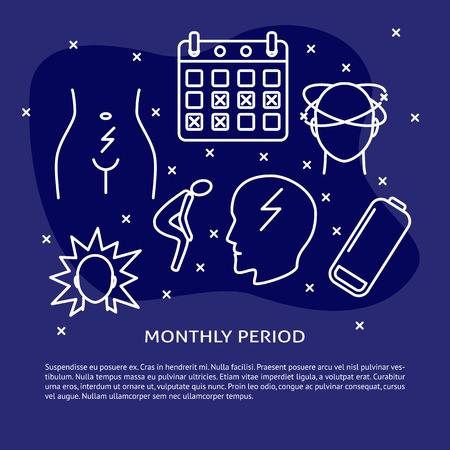 Plantilla de banner o cartel de síntomas del período menstrual en estilo de línea. Fondo del concepto de menstruación con texto. Ilustración de vector médico.