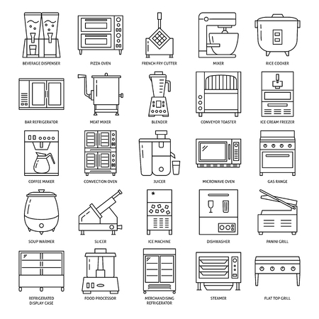 Professional kitchen equipment icon set in line style