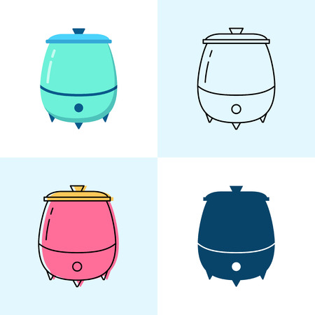 Soup warmer icon set in flat and line styles. Professional restaurant equipment symbols. Vector illustration.
