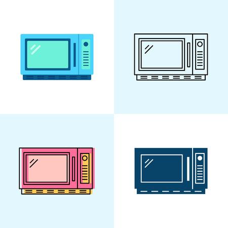 Microwave oven icon set in flat and line styles. Kitchen equipment symbols. Vector illustration. Ilustração