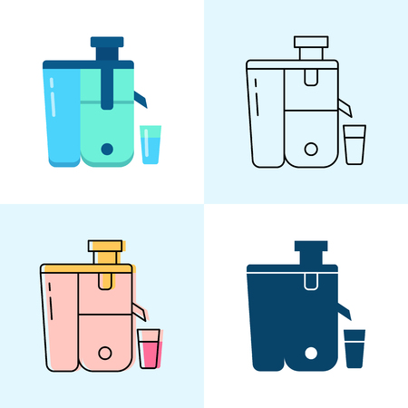 Cold-pressed juicer icon set in flat and line styles. Professional restaurant equipment symbols. Vector illustration. Reklamní fotografie - 124310427