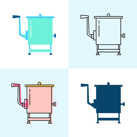Meat mixer icon set in flat and line styles. Professional restaurant equipment symbols. Vector illustration. Stock Illustratie