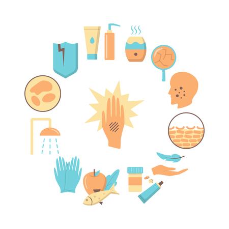 Symptômes de l'eczéma et modèle de bannière ou d'affiche de concept rond de traitement. Symboles d'allergie cutanée définis dans un style plat. Illustration vectorielle médicale.