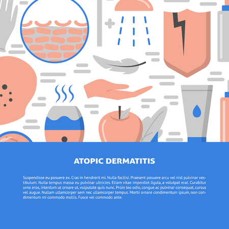 Atopic dermatitis symptoms and treatment concept background in flat style. Skin allergy banner template with place for text. Vector illustration.