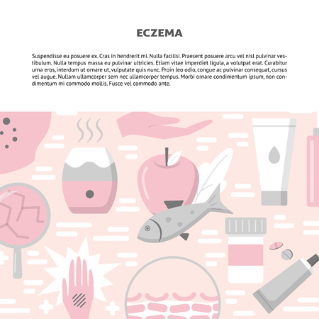 Eczema symptoms and treatment concept background in flat style. Skin allergy banner template with place for text. Vector illustration.