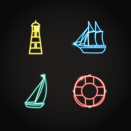 Sea collection of nautical icons in glowing neon style. Marine symbols set including sailing ships, life buoy and lighthouse. Water travel concept elements. Illustration