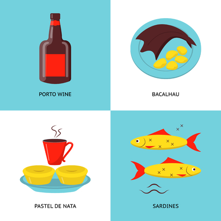 Collection of Portugal icons in flat style. Traditional cuisine symbols set including porto wine, bacalhau fish, pastel de nata tarts and sardines.