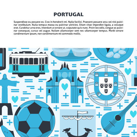Travel Portugal concept banner in flat style. Traditional symbols with national culture, cuisine and attractions. Flyer or poster template with place for text.