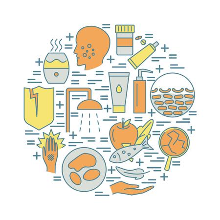 Symptômes de la dermatite atopique et bannière de concept ronde de traitement. Flyer médical ou modèle d'affiche avec symboles d'allergie cutanée dans le style de ligne. Illustration vectorielle.