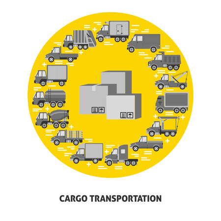 Cargo transportation round concept with different types of trucks in flat style. Trucking industry icons collection in circle with boxes in center. Vector banner or card template. Иллюстрация