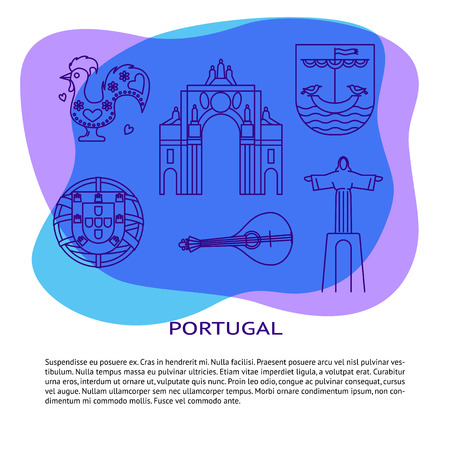 Portugal banner or poster template with icons in line style and place for text. Traditional symbols collection with Christ statue, rua Augusta arch, portuguese emblem, guitar fado, the Barcelos rooster. Illustration