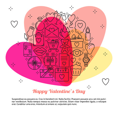 Valentines day concept banner with love icons in line style Illustration