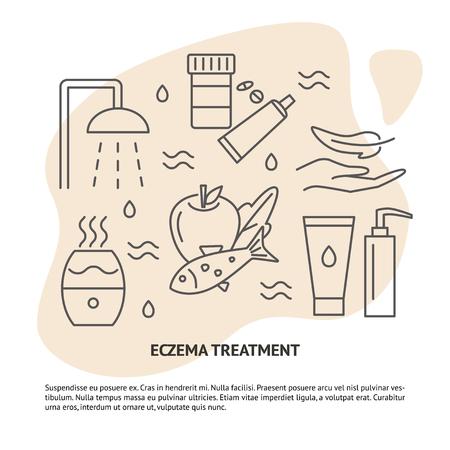Bannière de concept de traitement de l'eczéma avec texte. Symboles de thérapie contre les allergies cutanées définis dans le style de ligne. Bannière médicale ou modèle d'affiche. Illustration vectorielle. Vecteurs