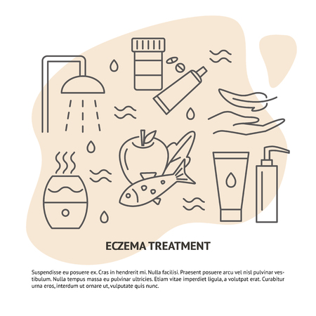 Eczema treatment concept banner with text. Skin allergy therapy symbols set in line style. Medical banner or poster template. Vector illustration.