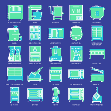 Commercial kitchen equipment icon set in line style