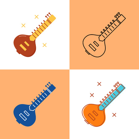 Sitar icon set in flat and line styles. Indian string musical instrument symbol. Vector illustration.
