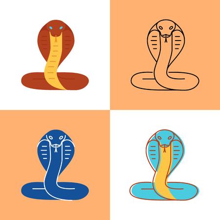 Icona del serpente cobra impostata in stili piatto e linea Vettoriali