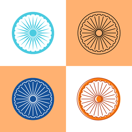 Indian Ashoka Chakra icon set in flat and line styles