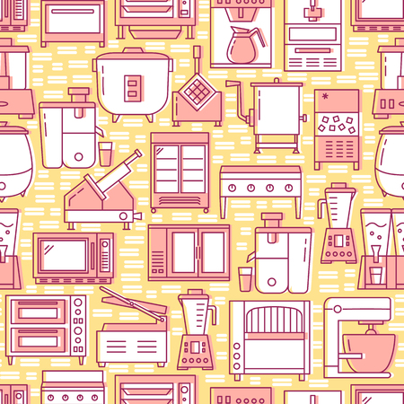 Kitchen equipment seamless pattern in line style