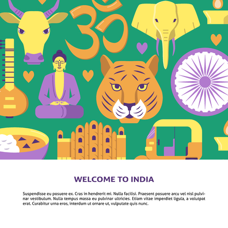 Welcome to India concept banner in flat style