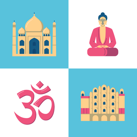 India culture icons set in flat style