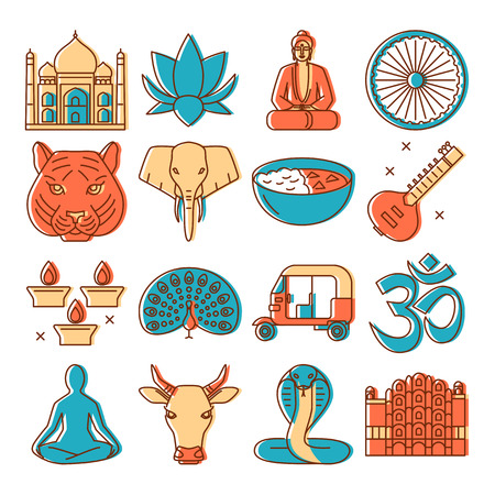 India icons set in colored line style