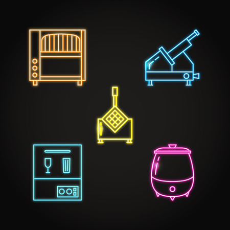 Professional kitchen equipment icon set in neon style