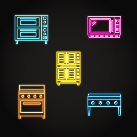 Professional kitchen equipment icon set in neon style Stock Illustratie