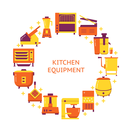 Professional kitchen equipment concept banner in flat style. Cooking appliances round poster template with place for text. Vector illustration.