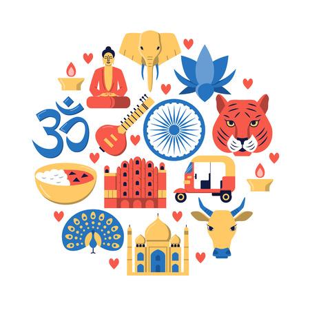 Rundes Banner mit indischen nationalen Symbolen im flachen Stil
