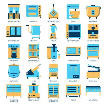 Restaurant kitchen equipment icon set in flat style Stock Illustratie
