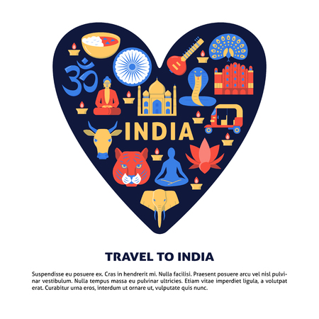 Travel to India concept banner in flat style